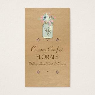 Cartão De Visitas Floral moderno rústico do frasco de pedreiro do