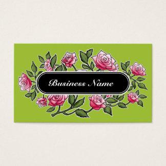 Cartão De Visitas Floral quadrado gráfico verde