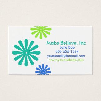 Cartão De Visitas Flores azuis e verdes retros