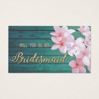 Cartão De Visitas Flores tropicais românticas, textura de madeira,