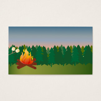 Cartão De Visitas Fogo exterior do acampamento do verão