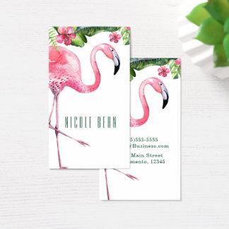 Cartão De Visitas Folhas florais tropicais cor-de-rosa do flamingo &