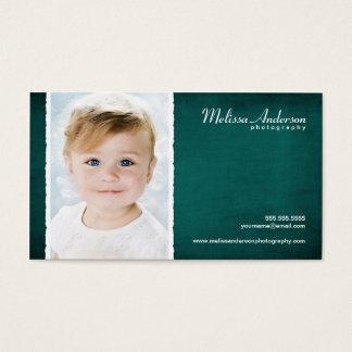 Cartão De Visitas Fotógrafo azul do retrato do estúdio da cerceta do