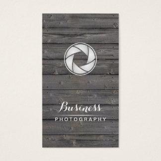 Cartão De Visitas Fotógrafo da madeira da abertura da câmera da