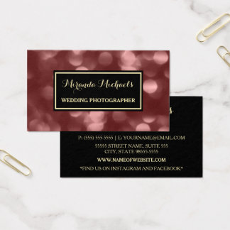 Cartão De Visitas Fotógrafo elegante Brown glamoroso Bokeh do