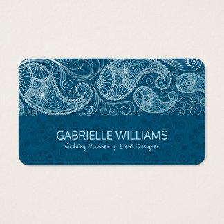 Cartão De Visitas Fundo azul esverdeado de Paisley do vintage branco