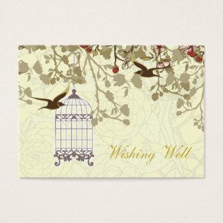 Cartão De Visitas gaiola de pássaro amarela, pássaros do amor que