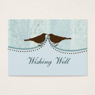 Cartão De Visitas gaiola de pássaro azul, pássaros do amor que