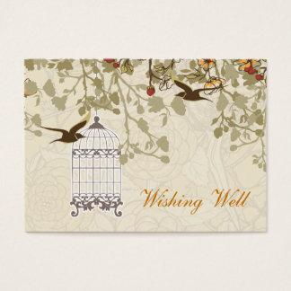 Cartão De Visitas gaiola de pássaro marrom, pássaros do amor que