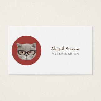 Cartão De Visitas Gato cinzento macio que veste vidros