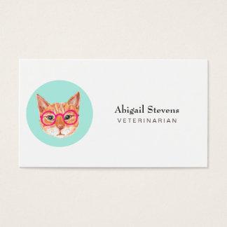 Cartão De Visitas Gato de gato malhado alaranjado bonito que veste
