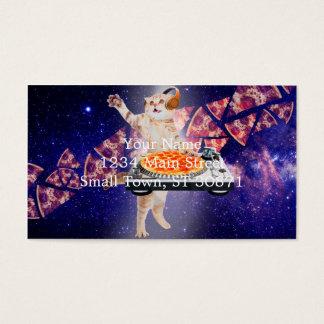 Cartão De Visitas gato do DJ - gato DJ - gato do espaço - pizza do