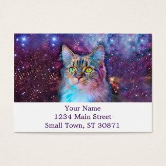 Cartão De Visitas Gato orgulhoso com fundo do espaço