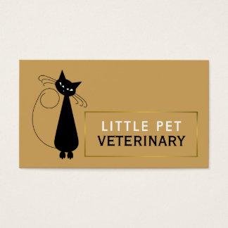 Cartão De Visitas Gato preto animado, veterinário, veterinário