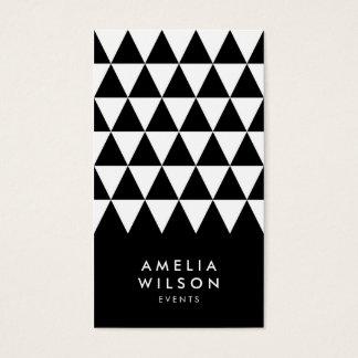 Cartão De Visitas Geométrico moderno do triângulo branco preto
