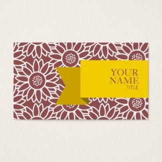 Cartão De Visitas Girassol dourado de Marsala da fita