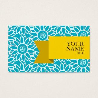 Cartão De Visitas Girassol dourado do azul do mergulhador da fita