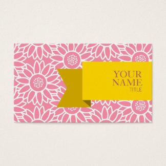 Cartão De Visitas Girassol dourado do sorvete do rosa da fita