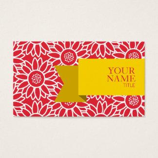 Cartão De Visitas Girassol dourado dos carmesins de alizarina da