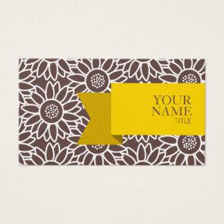 Cartão De Visitas Girassol médio do Taupe da fita dourada