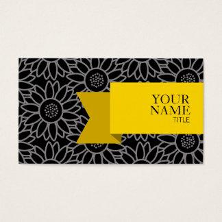 Cartão De Visitas Girassol preto e Titanium da fita dourada