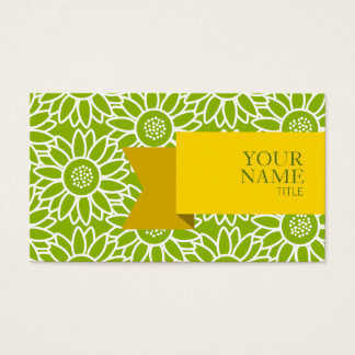 Cartão De Visitas Girassol verde-maçã da fita dourada