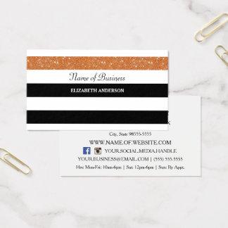 Cartão De Visitas Glitz preto e branco elegante da laranja do FALSO