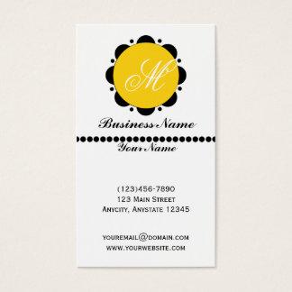Cartão De Visitas Gráfico abstrato moderno da margarida no amarelo e