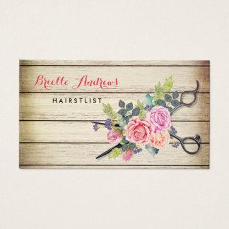 Cartão De Visitas Hairstylist de madeira das tesouras e dos rosas do