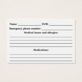 Cartão De Visitas Identificação médica do alerta - Customisable