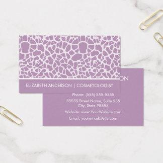 Cartão De Visitas Impressão animal do girafa roxo chique do
