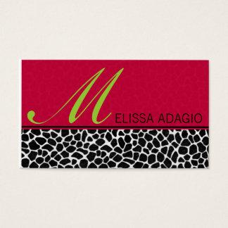 Cartão De Visitas Impressão Sassy do vermelho e do girafa