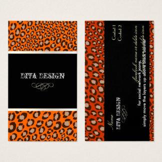 Cartão De Visitas Impressões do leopardo para o fundo de Divas/DIY
