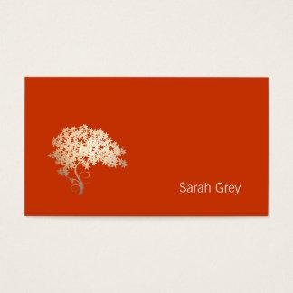 Cartão De Visitas Laranja simples da árvore dourada elegante