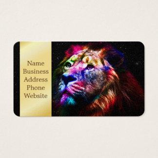 Cartão De Visitas Leão do espaço - leão colorido - arte do leão -