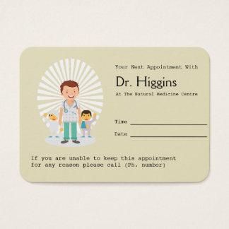 Cartão De Visitas Lembrete da nomeação do médico de família