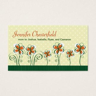 Cartão De Visitas Linha de flores alaranjadas e de mamães verdes