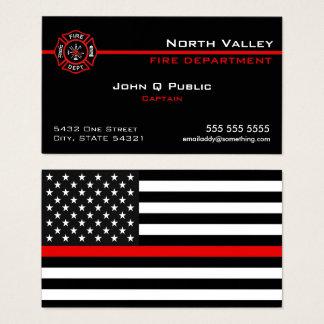 Cartão De Visitas Linha vermelha fina bandeira americana
