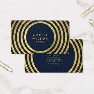 Cartão De Visitas Linhas redondas evento geométrico do ouro azul