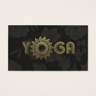 Cartão De Visitas Linho floral da mandala preta da mediação da ioga