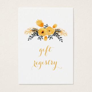 Cartão De Visitas lista de presentes floral da aguarela cinzenta