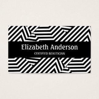 Cartão De Visitas Listra preto e branco na moda Beautician