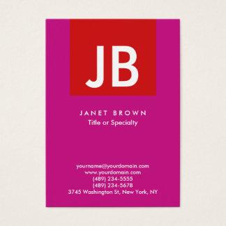 Cartão De Visitas Listra vermelha violeta do monograma moderno