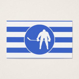 Cartão De Visitas Listras dos azuis marinhos e do branco; Hóquei