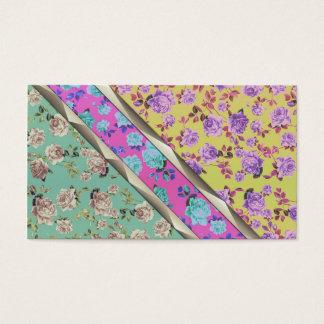 Cartão De Visitas Listras florais coloridas na moda do hipster