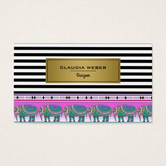 Cartão De Visitas Listras pretas do desenhista & brancas na moda