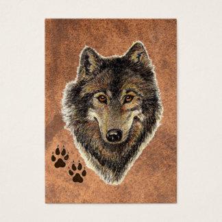 Cartão De Visitas Lobo cinzento da aguarela original do ATC de ACEO