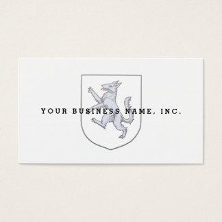 Cartão De Visitas Lobo cinzento desenfreado em um arauto branco do