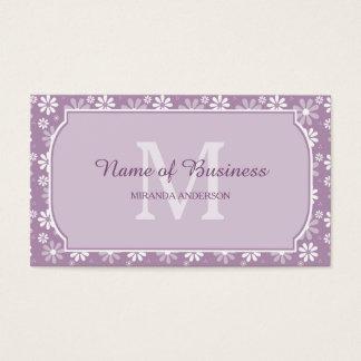 Cartão De Visitas Luz feminino do monograma - flores roxas e nome da