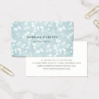 Cartão De Visitas Luzes de Bokeh do azul de gelo